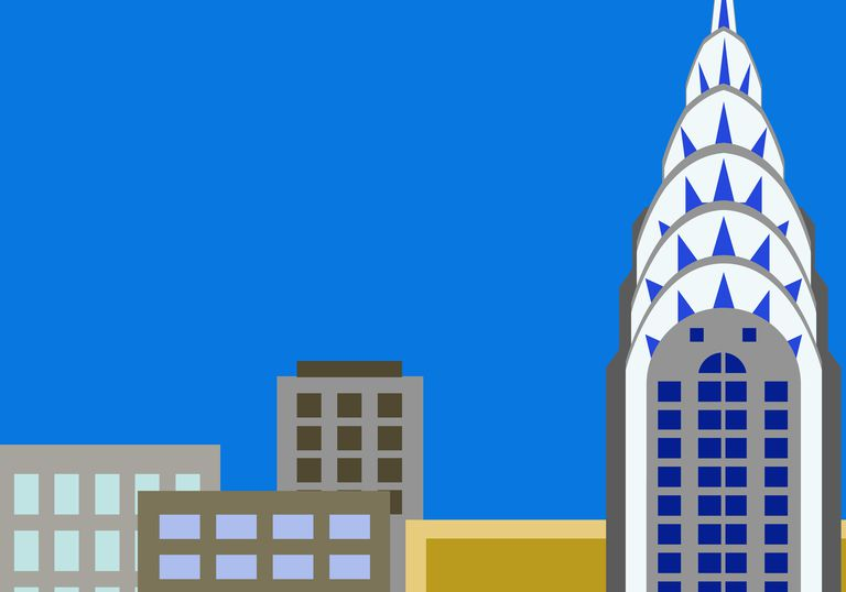 Illustration of Chrysler Building and other buildings in Manhattan, New York