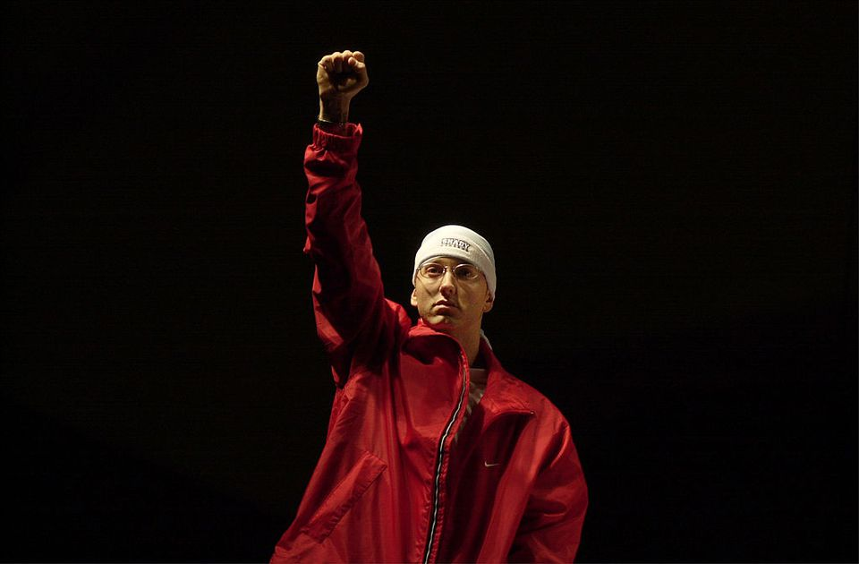 Eminem enters the summit. during The Detroit Hip Hop Summit at Cobo Arena in Detroit, Michigan, United States.