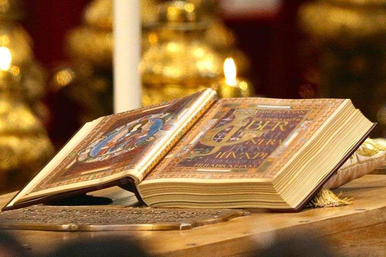 The Gospels on the coffin of Pope John Paul II, May 1, 2011. (Vittorio Zunino Celotto/Getty Images)