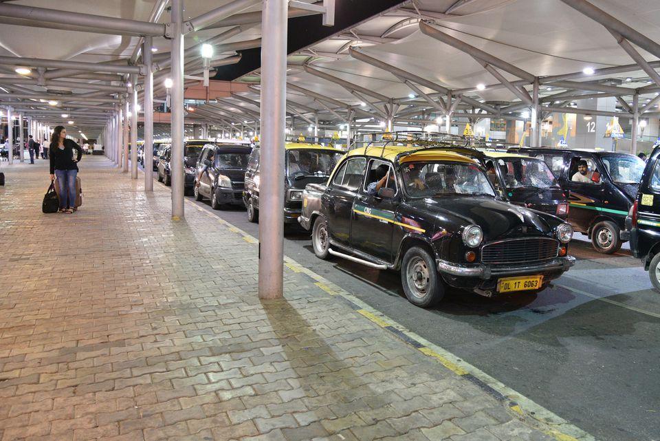 Taxis at Delhi airport.