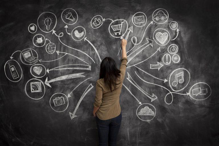Girl drawing social meida icons on chalkboard