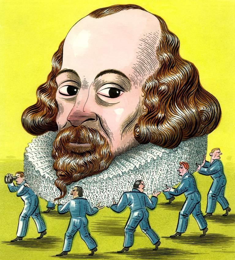 Men holding up Shakespeare's head