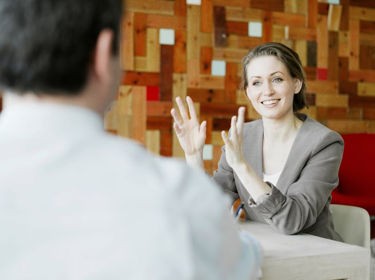 Interview between man and woman