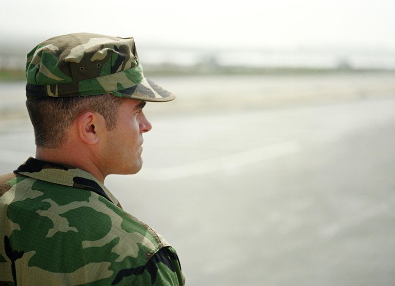 Soldier looking at horizon