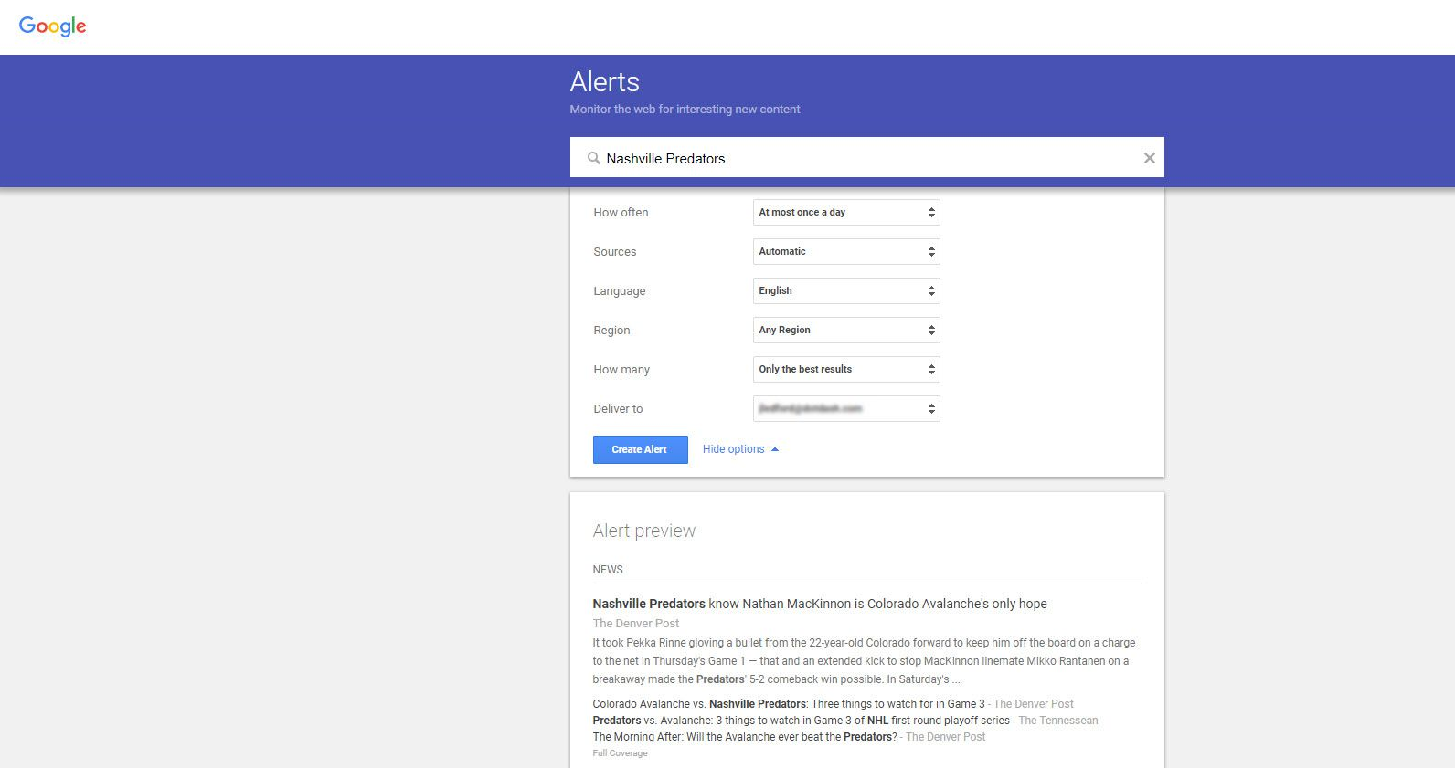 Screenshot of the Google Alerts page showing Alert Options when creating a Google Alert.