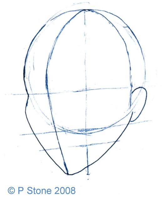 how to draw the shape of a manga head