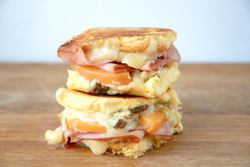 Grilled Cheese with Pickled Peaches and Virginia Ham