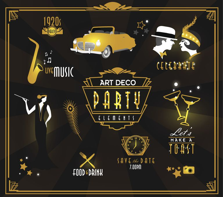 Art Deco style party icon and label set