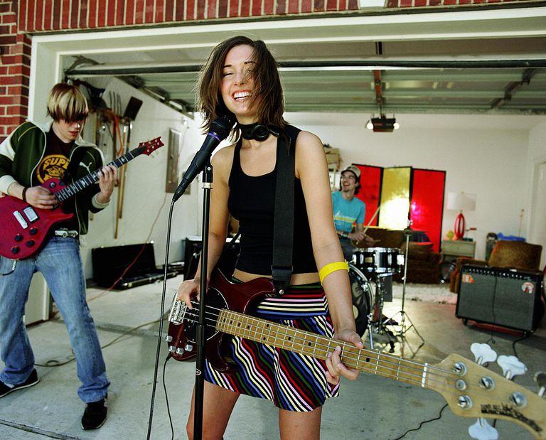 Teenage garage band rehearsing