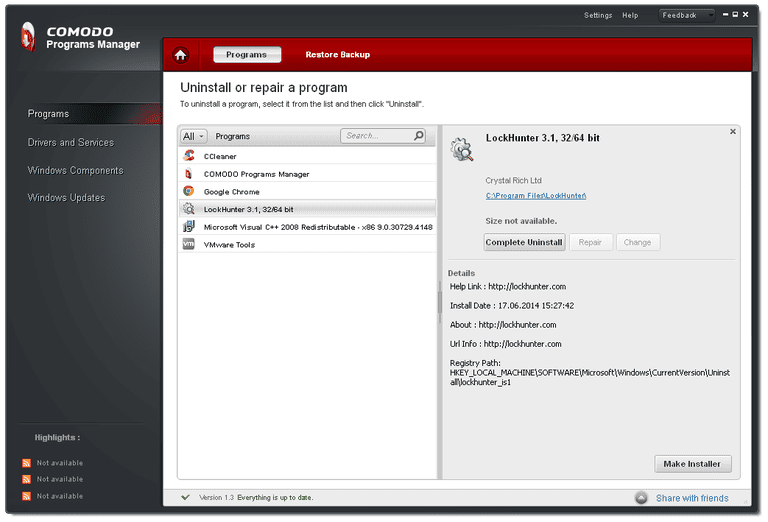 Screenshot of Comodo Programs Manager v1.3 in Windows XP