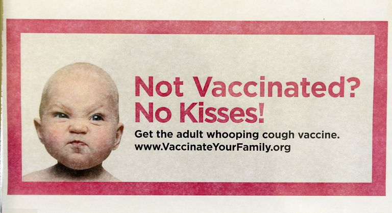 Not vaccinated? No kisses! Whooping cough vaccine campaign poster.