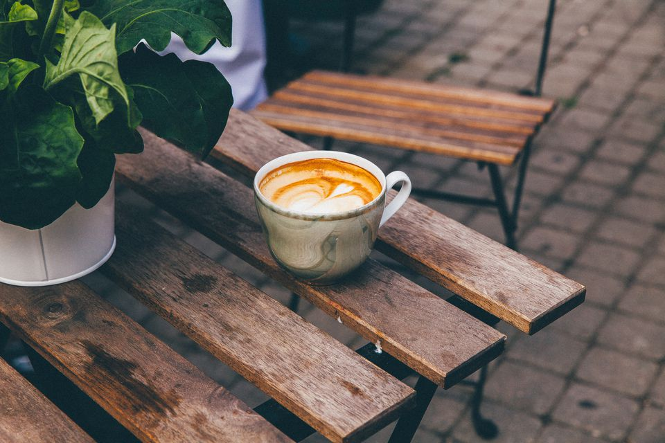 High Angle View Of Coffee Cup On Table By Potted Plant
