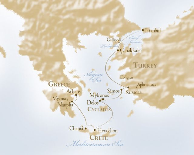 Itinerary map of Voyages to Antiquity