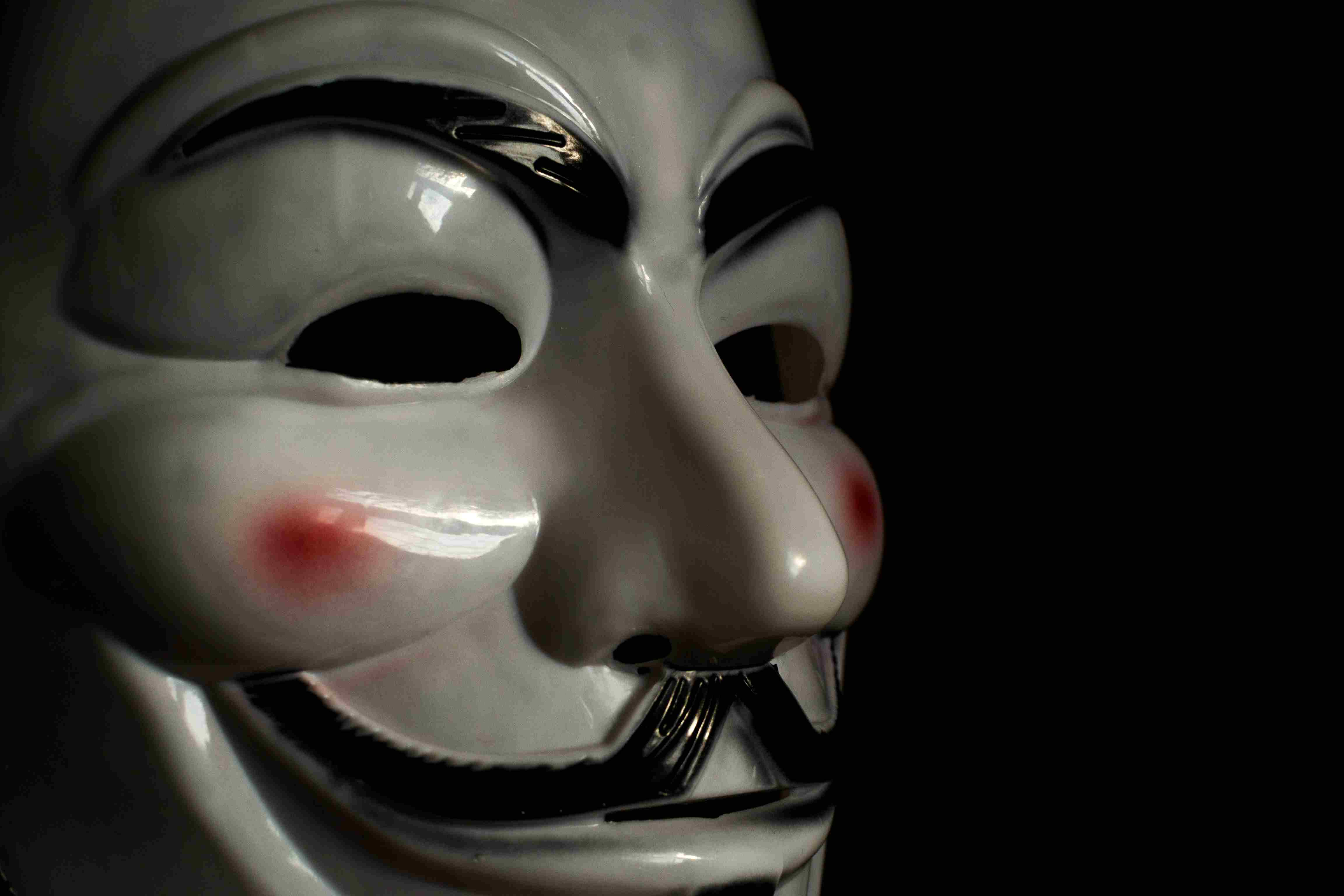 An anonymous mask representing the hacker collective, Anonymous.