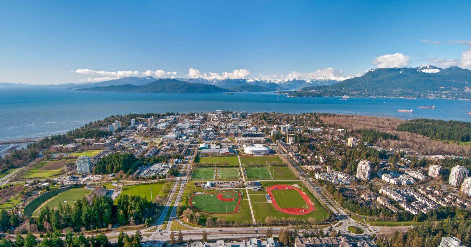 Aerial view of UBC's campus in Vancouver, BC