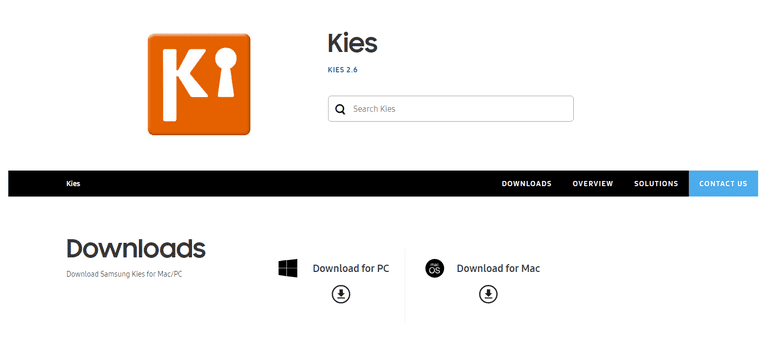 Screnshot of the Samsung Kies Download Page