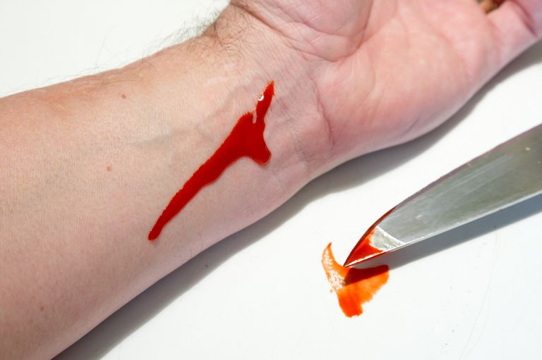 The bleeding knife chemical reaction is used for Halloween costumes.
