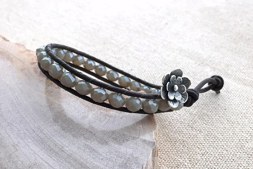 Leather Wrap Bead Bracelet