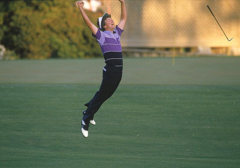 Larry Mize jumps for joy at the 1987 Masters