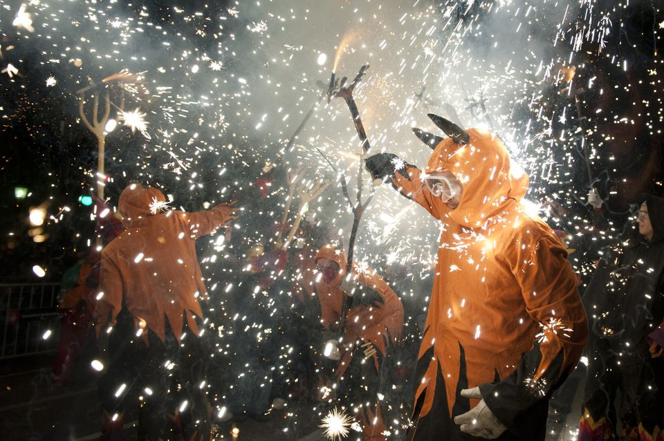 Correfoc take the streets of Barcelona for the closure of ''La Merce'' festival. Catalonia, Spain 2011.