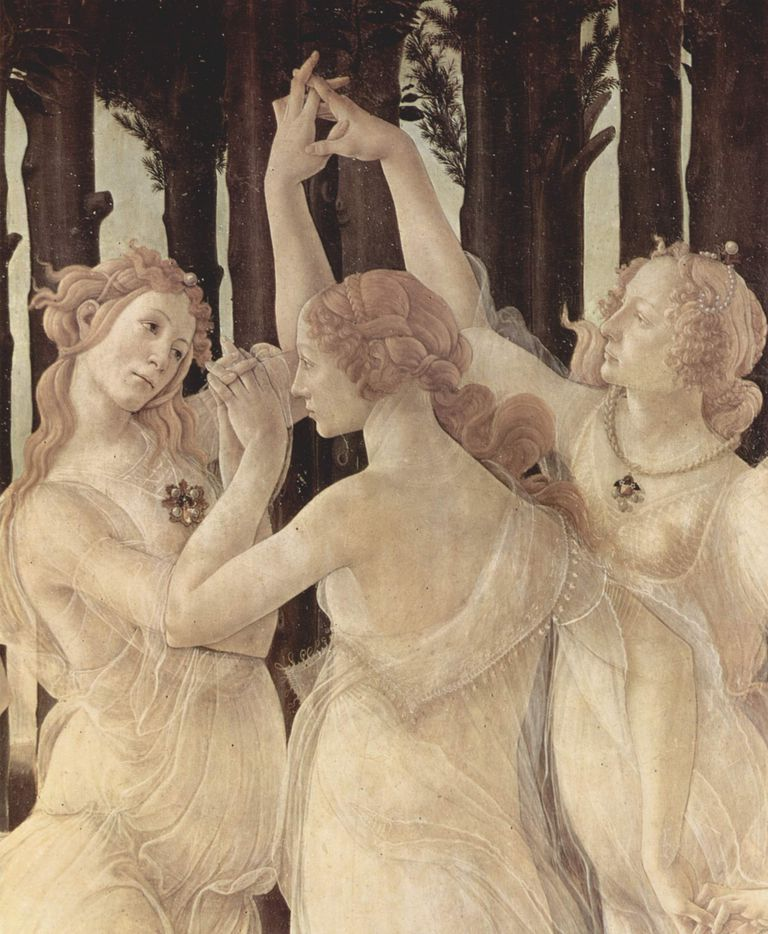 Las tres gracias, Detalle de La Primavera de Botticelli