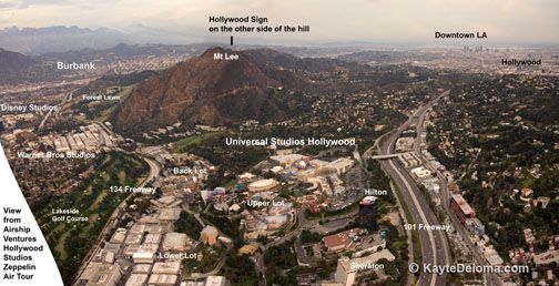 Aerial view of Universal Studios Hollywood, Los Angeles, CA