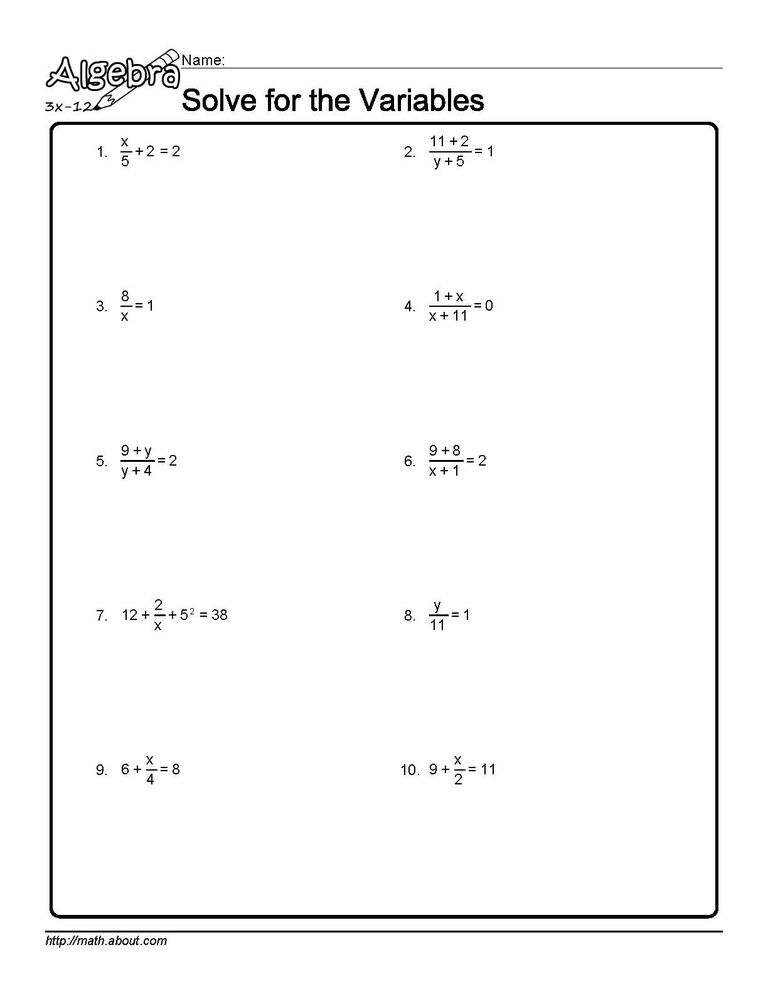 Solve for the Variables Worksheet 1 of 10 – Solve for X Worksheets