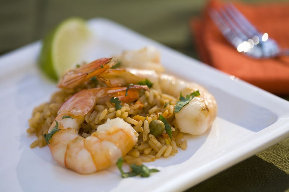 rice and shrimp on a plate