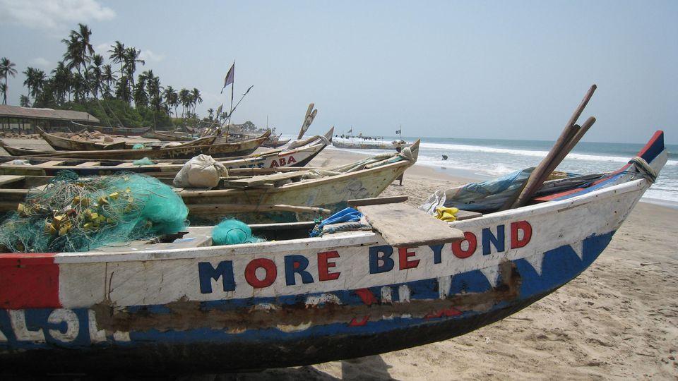 Painted fishing boats, Kokrobite, Ghana