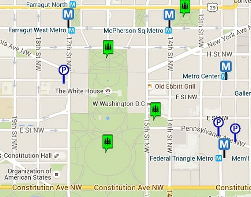 Map Of The White House And The Ellipse In Washington Dc