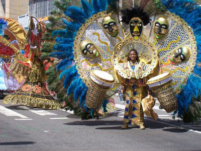 Big costumes on parade at the Trinidad & Tobago annual Children's Carnival celebration