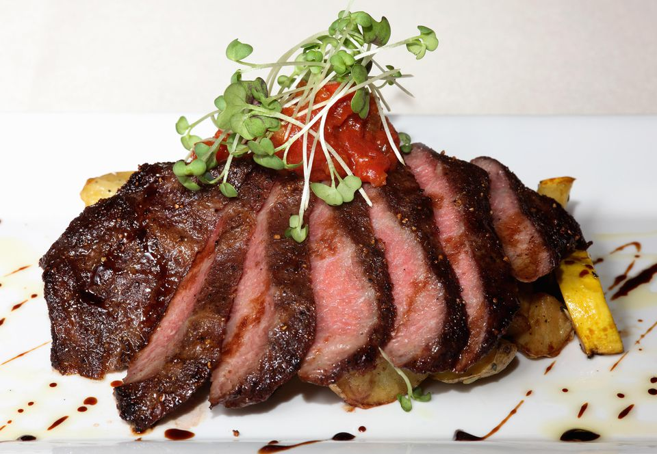 Spiced flat iron steak with roasted Yokon Gold potatoes