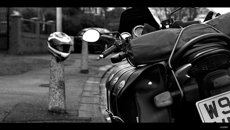Parked motorcycle.