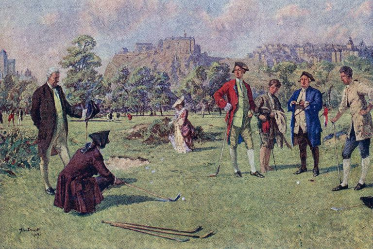 Lithograph of golfers on the links of Edinburgh circa 1750