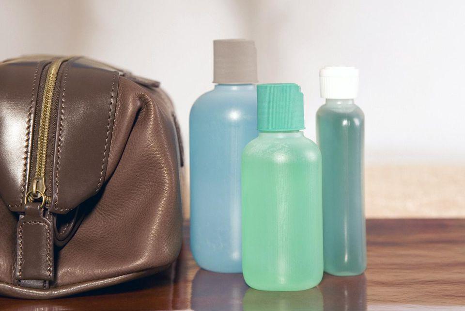 Shampoo bottles and travel kit