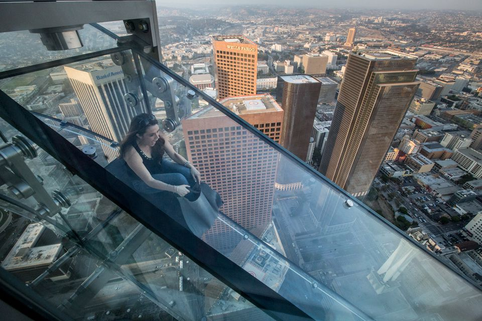 The Skyslide at Skyspace LA in the US Bank Tower in Downtown LA