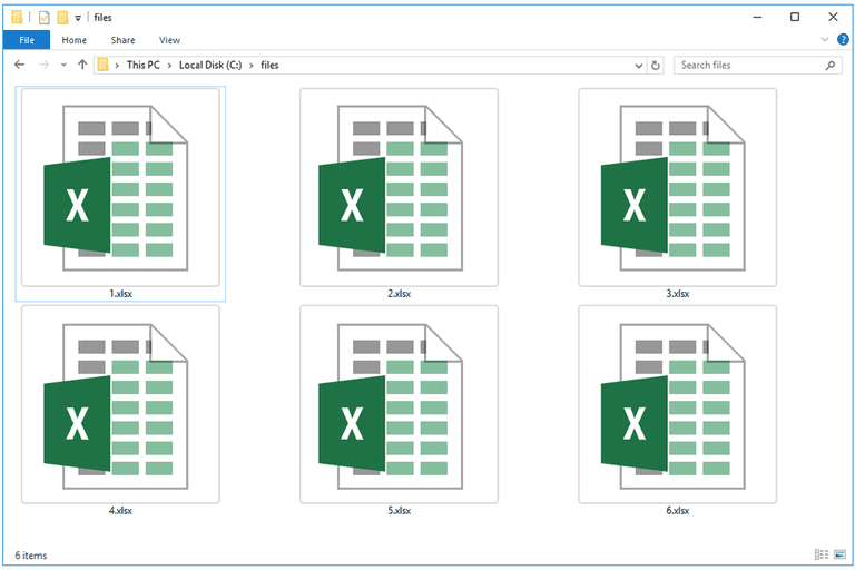 Screenshot of several XLSX files in Windows 10