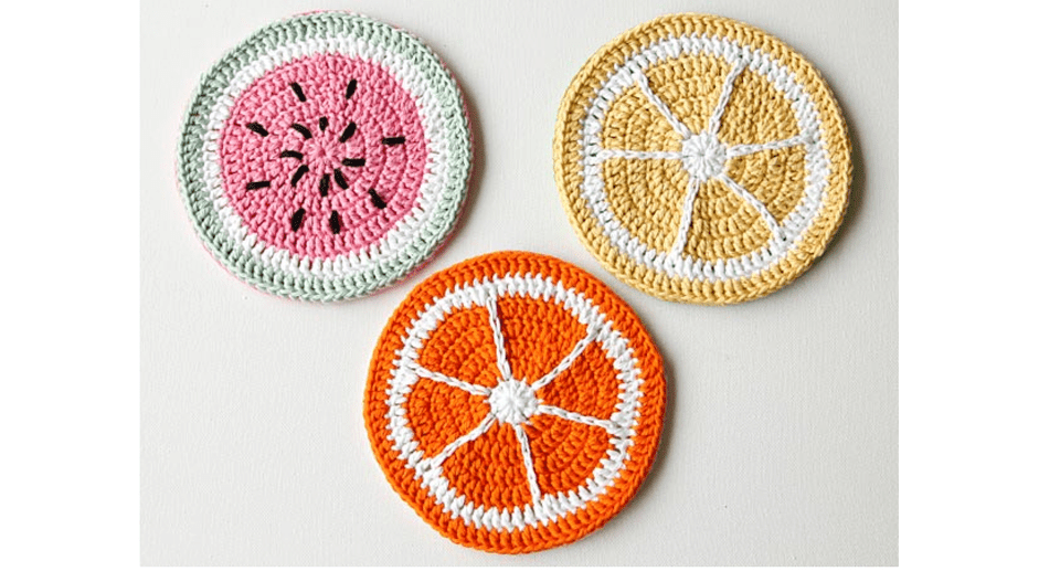 Crochet Fruit Coasters Free Pattern