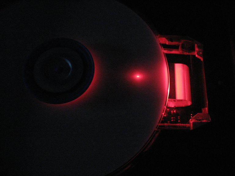 The interior of a DVD burner
