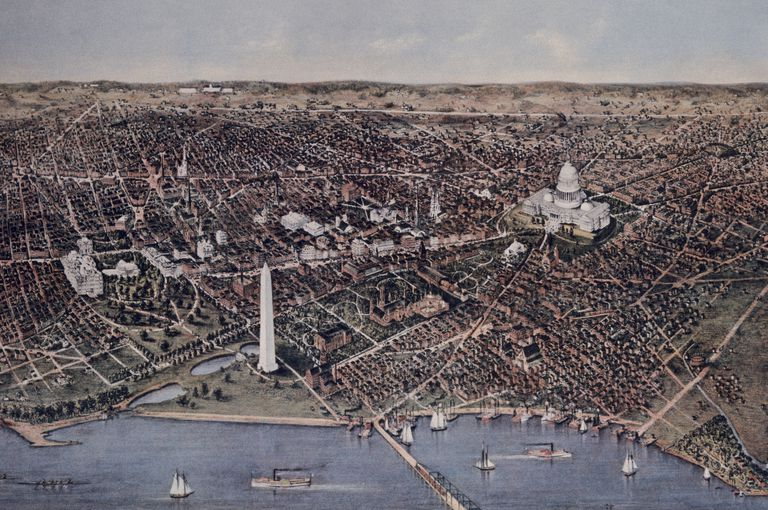 Currier and Ives Lithograph of City of Washington, DC, Looking North in 1892