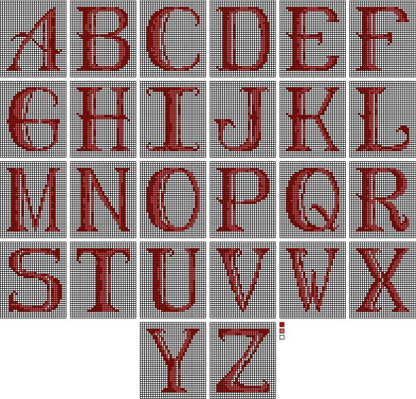 chart of needlepoint alphabets