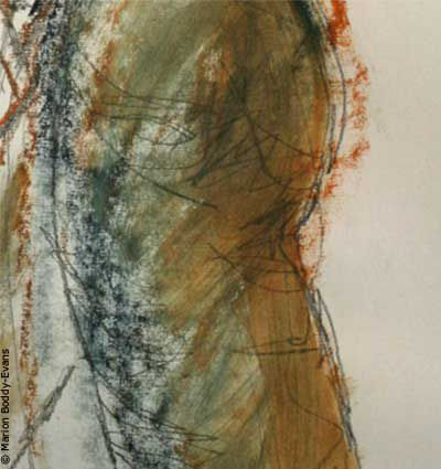 Detail from a mixed media painting using ink, pastel, and pencil.