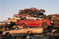 A large pile of junked cars.