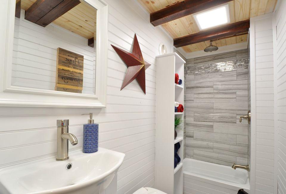 Mixed tile n tiny house bathroom shower