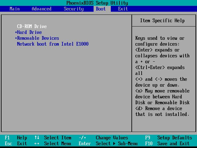 Screenshot of a BIOS Setup Utility Boot Menu