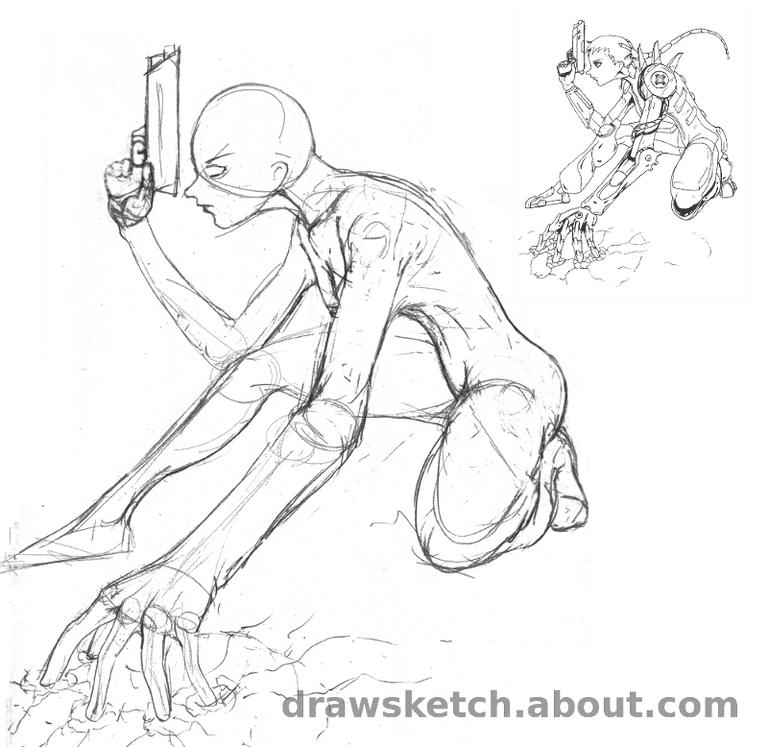 manga cyborg woman sketch