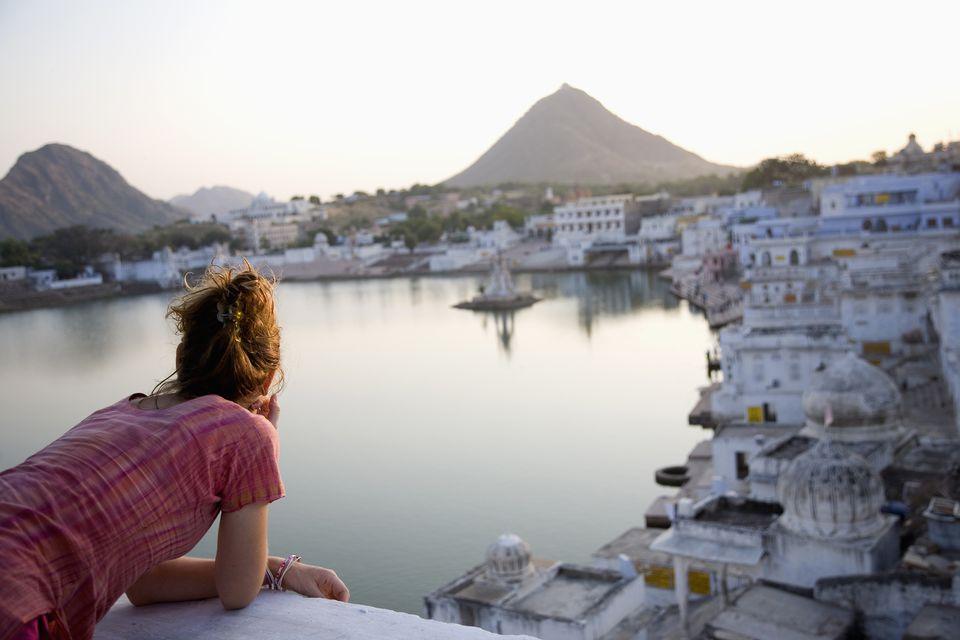 Woman Admiring View Of Pushkar
