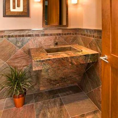 small bathroom flooring ideas slate or other natural stone - Flooring Bathroom Ideas