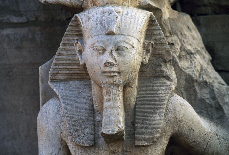 Statue of Tuthmosis III, Great Temple of Amun, eastern sector, Karnak Temple Complex, Luxor, Thebes (Unesco World Heritage List, 1979), Egypt, Egyptian civilization, New Kingdom, Dynasty XVIII