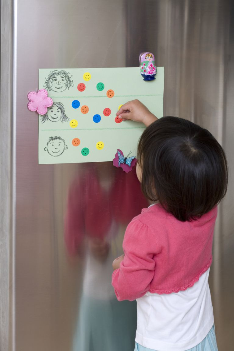 girl putting sticker on chart